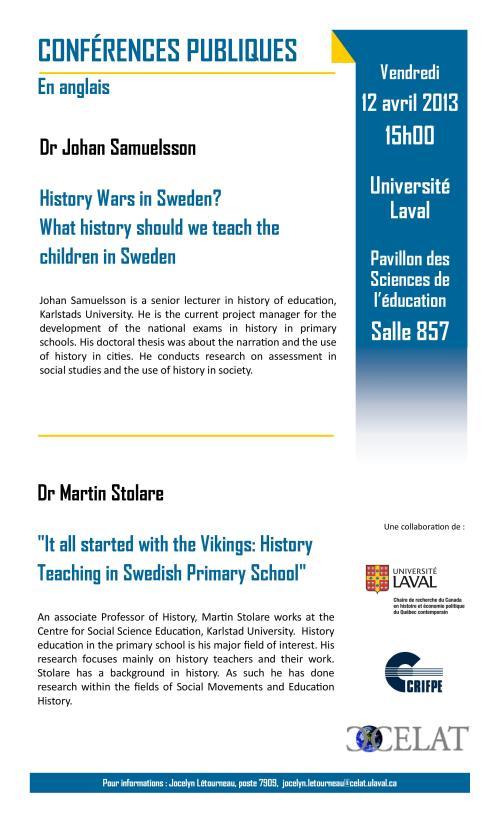 Deux conférences le vendredi 12 avril à l'Université Laval