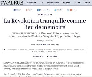 révolution tranquille jocelyn létourneau lieu de mémoire