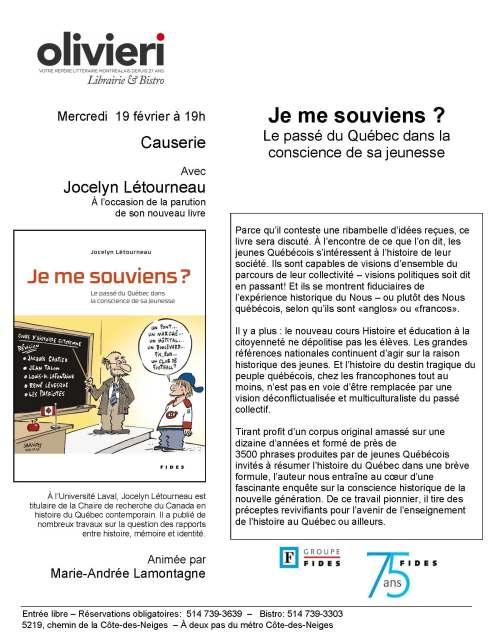 causerie jocelyn létourneau Olivieri