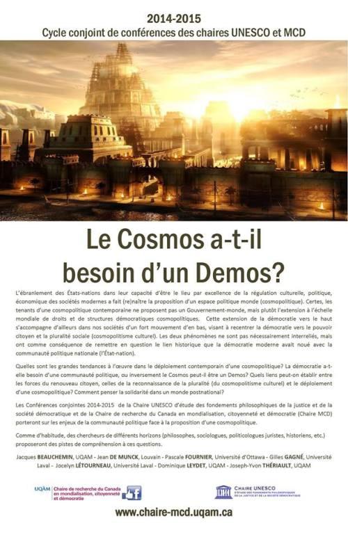 Conférence Jocelyn Létourneau Le Cosmos a-t-il besoin d'un Demos Chaire MCD UQAM