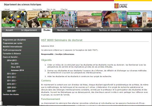 Cliquez sur l'image pour lire le contenu du Seminaire de doctorat donné à l'Université par Jocelyn Létourneau