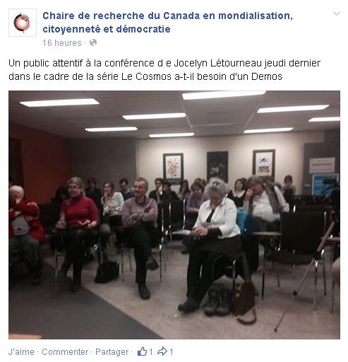 """""""Un public attentif à la conférence d e Jocelyn Létourneau jeudi dernier dans le cadre de la série Le Cosmos a-t-il besoin d'un Demos"""""""