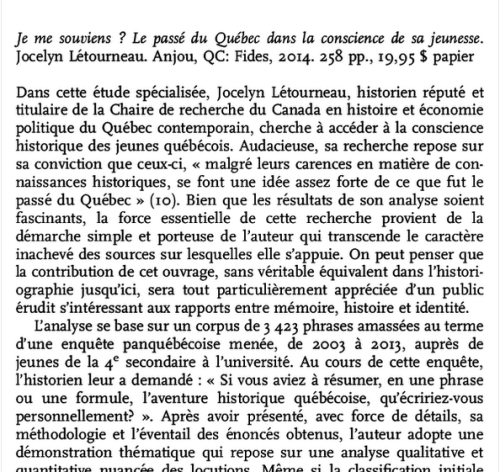 Je me souviens? de Jocelyn Létourneau / Compte rendu critique dans le Canadian Historical Review